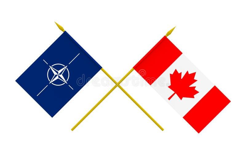 Drapeaux, le Canada et OTAN illustration stock