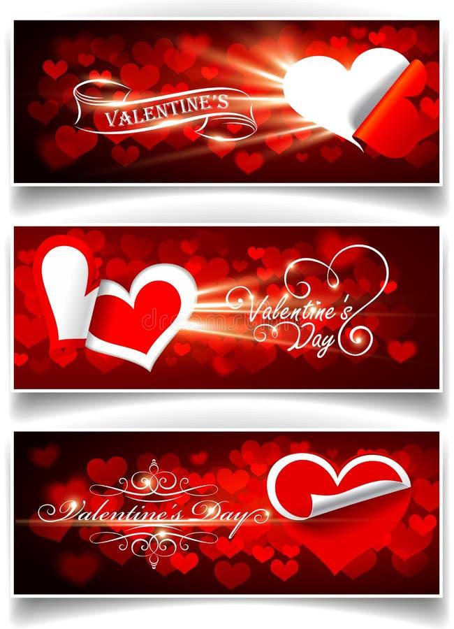 Drapeaux le jour de Valentine illustration de vecteur