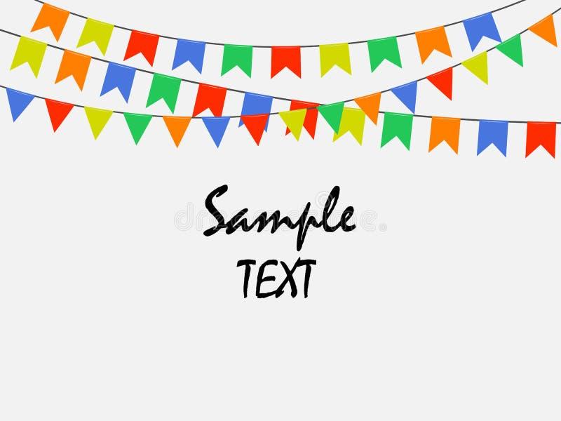Drapeaux lumineux multicolores de fête, guirlandes de l'étamine d'isolement sur le fond blanc Texte témoin Illustration de vecteu illustration libre de droits