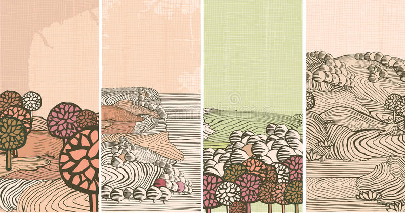 Drapeaux médiévaux de nature illustration libre de droits