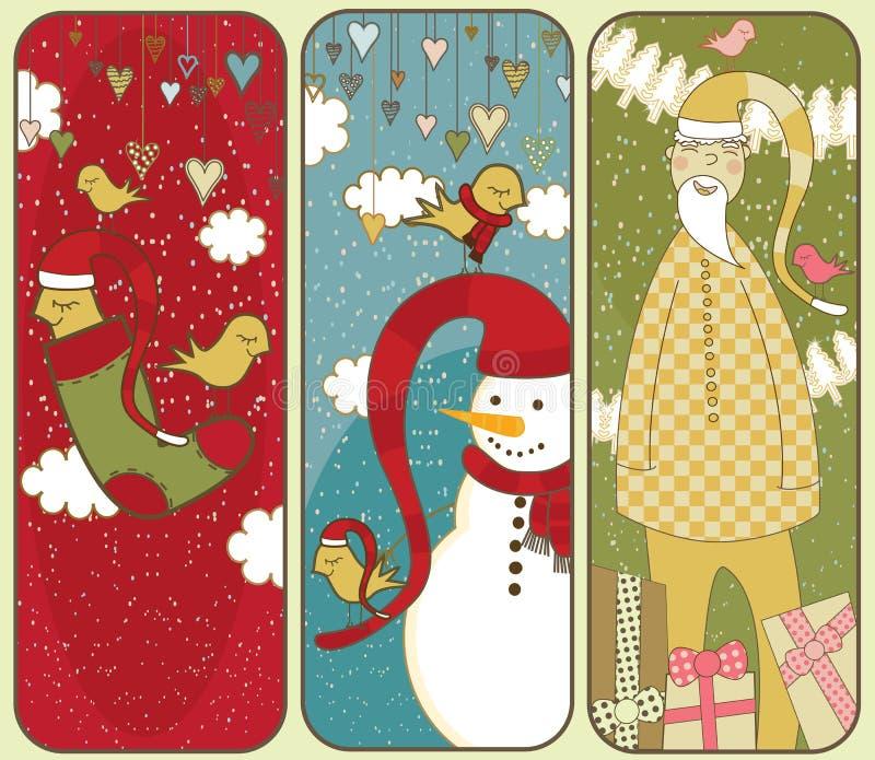 Drapeaux mignons de Noël illustration de vecteur