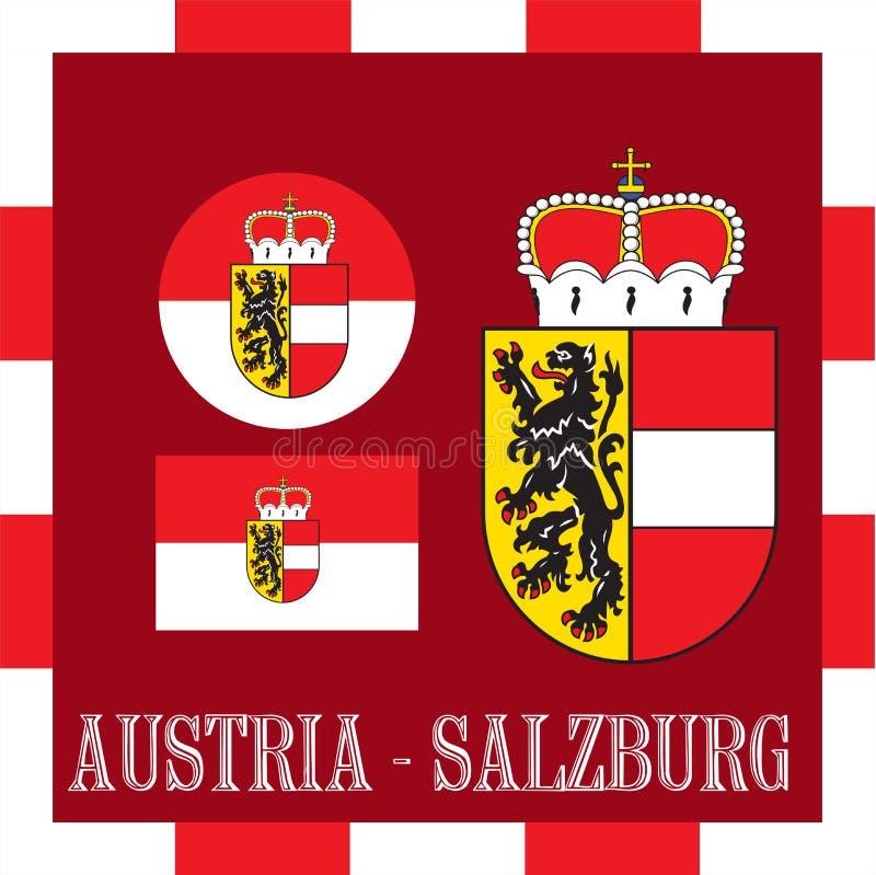Drapeaux nationaux de Salzbourg - l'Autriche illustration de vecteur