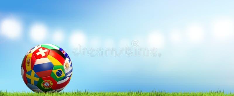 Drapeaux nationaux de stade de football de rendu de la boule 3d du football du football illustration libre de droits