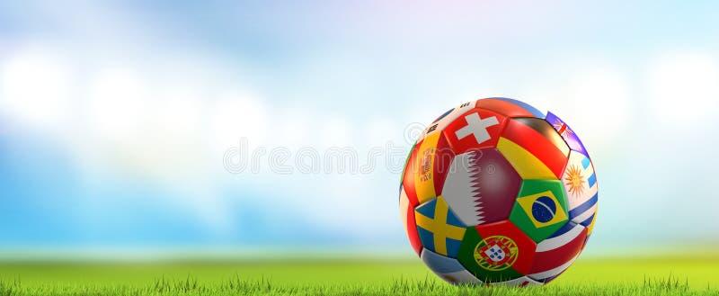 Drapeaux nationaux de stade de football de rendu de la boule 3d du football du football illustration de vecteur