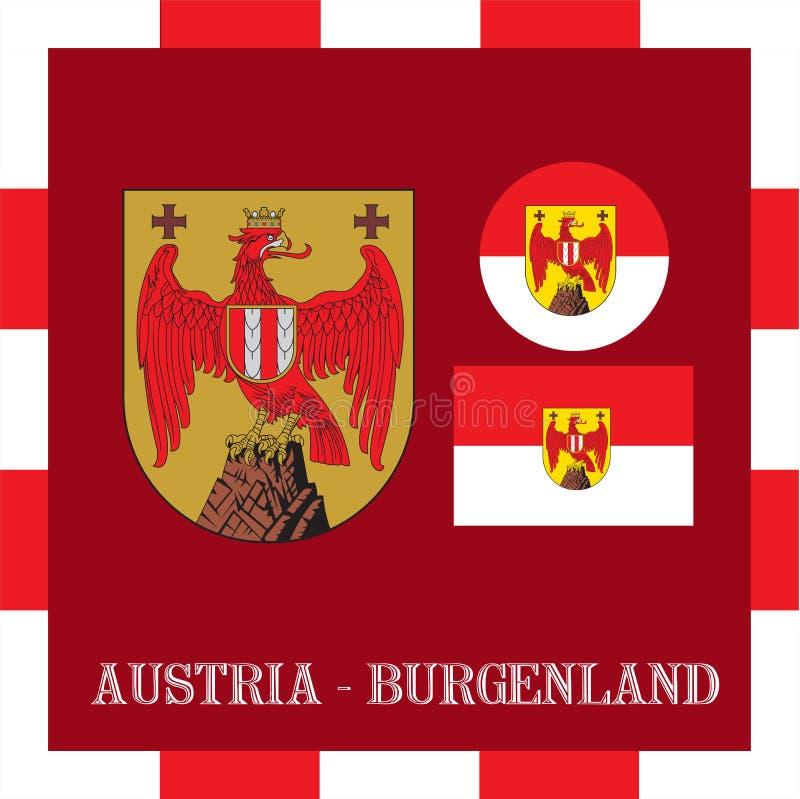Drapeaux nationaux du Burgenland - l'Autriche illustration libre de droits