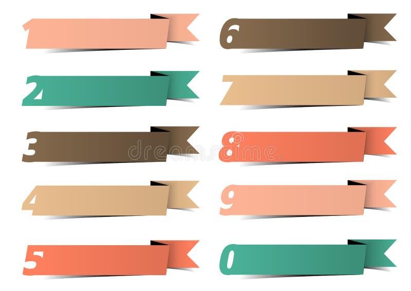 Drapeaux numérotés par infographics de descripteur de conception moderne de vecteur illustration stock