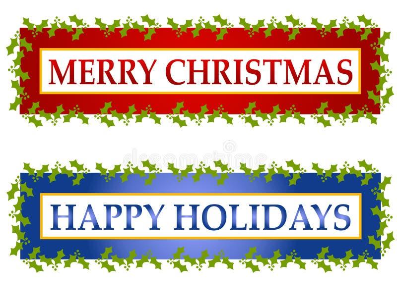 Drapeaux ou logos de salutation de Noël illustration libre de droits
