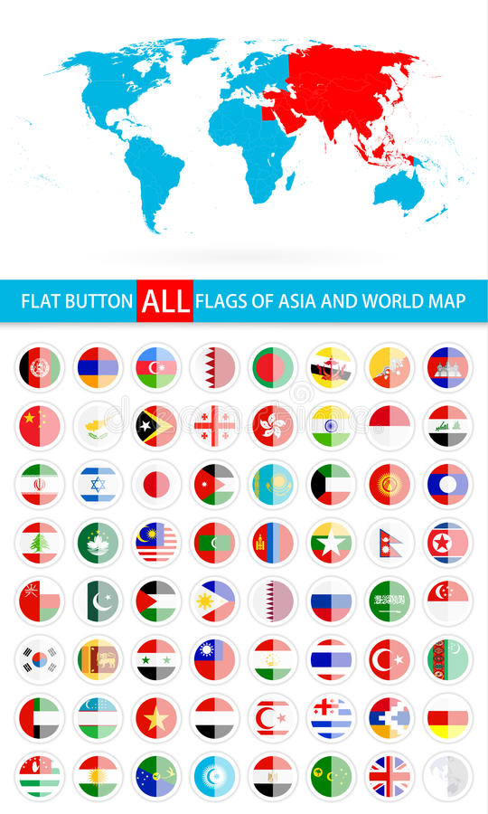 Drapeaux plats ronds de bouton d'ensemble complet de l'Asie et de carte du monde illustration libre de droits