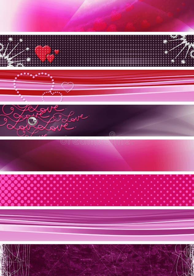 Drapeaux pourprés roses illustration libre de droits
