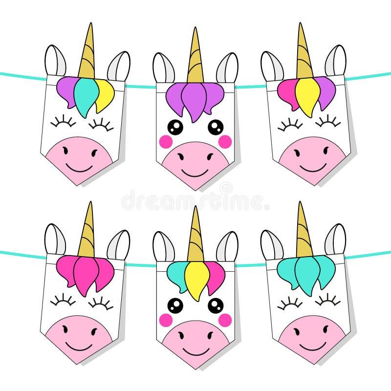 Drapeaux puérils mignons d'étamine avec les licornes magiques de cheveux d'arc-en-ciel illustration stock