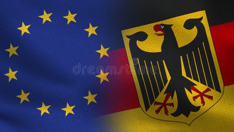 Drapeaux réalistes d'UE et de l'Allemagne demi ensemble illustration libre de droits