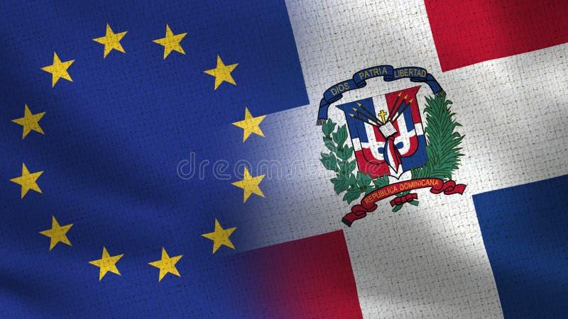 Drapeaux réalistes d'UE et de la République Dominicaine demi ensemble illustration libre de droits