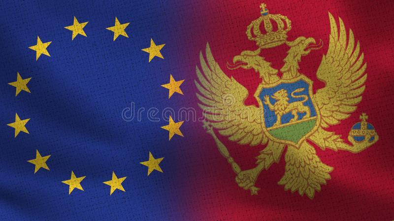 Drapeaux réalistes d'UE et de Monténégro demi ensemble photo libre de droits