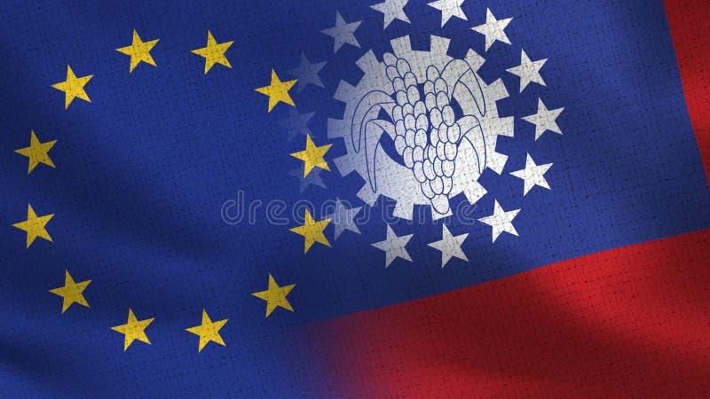 Drapeaux réalistes d'UE et de Myanmar Birmanie demi ensemble illustration de vecteur