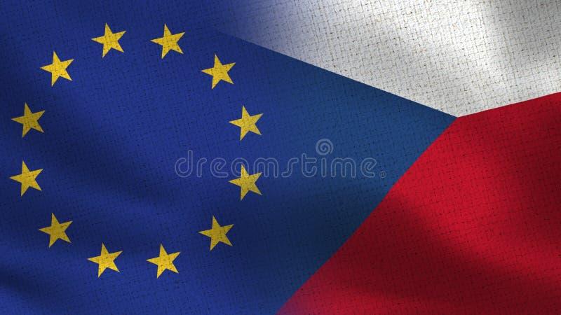 Drapeaux réalistes d'UE et de République Tchèque demi ensemble illustration de vecteur