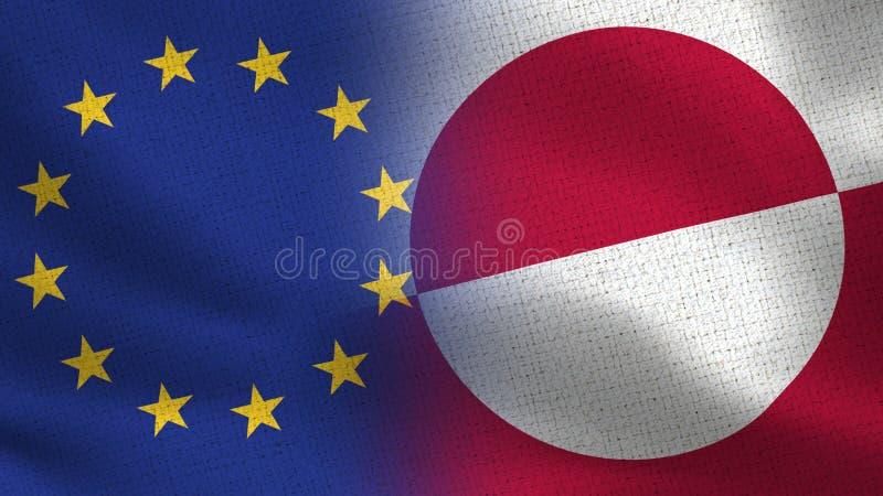 Drapeaux réalistes d'UE et du Groenland demi ensemble photos libres de droits