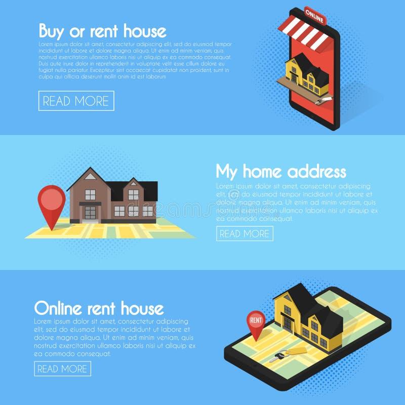 Drapeaux réglés Concept plat isométrique de vecteur de recherche en ligne d'immobiliers En vente ou téléphone d'étalage de loyer illustration de vecteur
