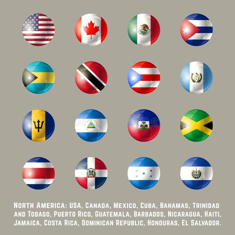 Drapeaux ronds de l'Amérique du Nord illustration libre de droits