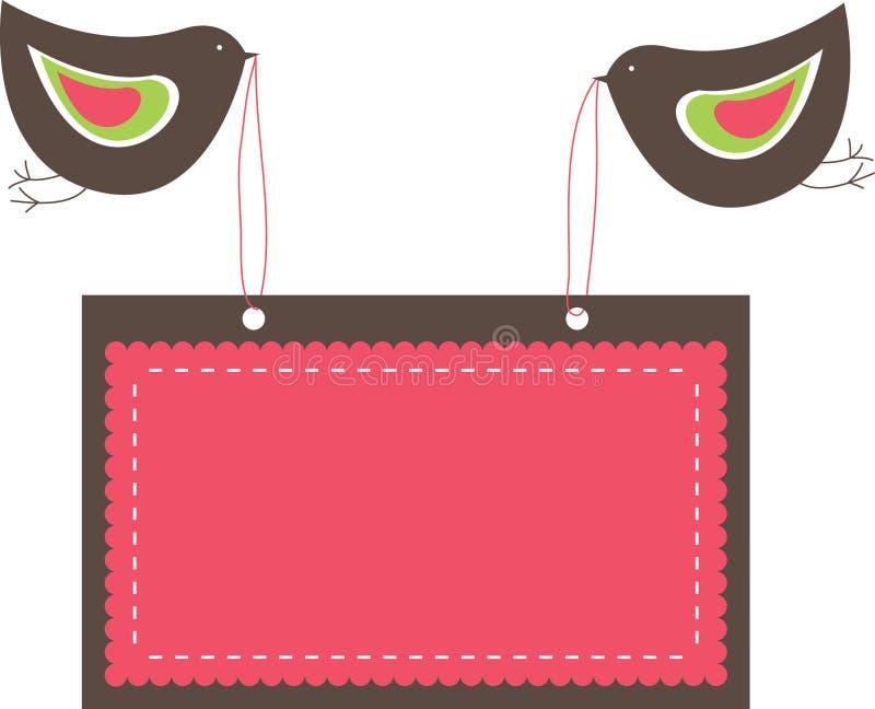 Drapeaux roses avec deux oiseaux. illustration libre de droits