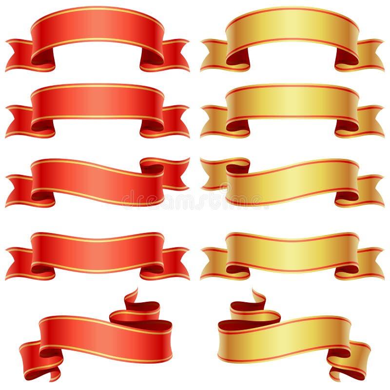 Drapeaux rouges et d'or illustration stock