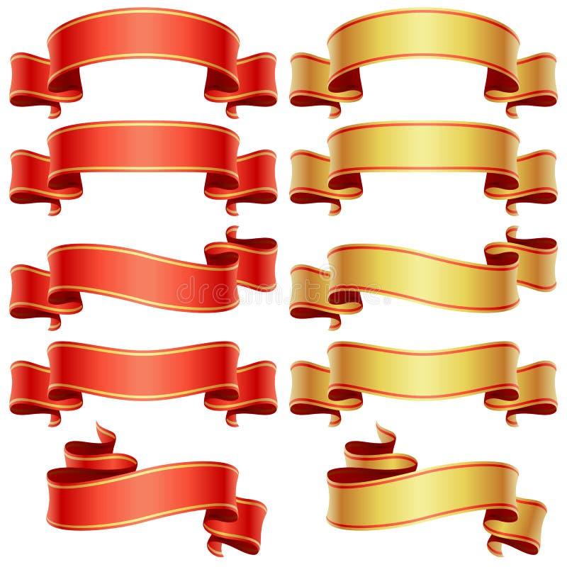Drapeaux rouges et d'or réglés illustration stock