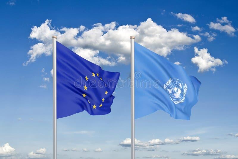 Drapeaux soyeux colorés épais d'Union européenne d'Union européenne et d'organisation des Nations Unies 3d illustration libre de droits