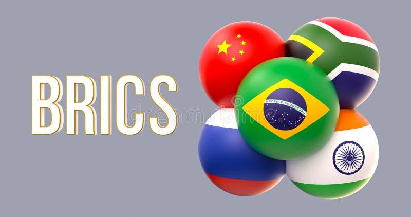 Drapeaux sphériques de BRICS, forme de groupe, conduite du Brésil illustration stock