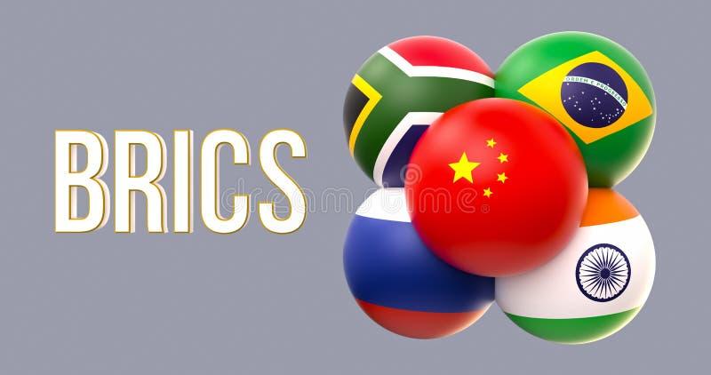 Drapeaux sphériques de BRICS, forme de groupe, conduite de la Chine illustration libre de droits