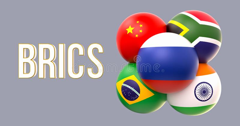 Drapeaux sphériques de BRICS, forme de groupe, conduite de la Russie illustration libre de droits