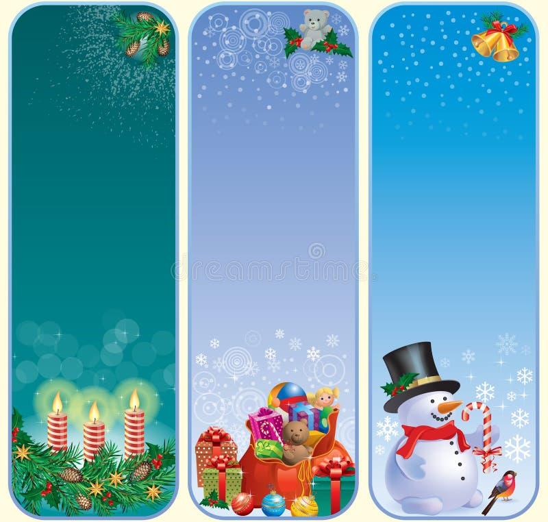Drapeaux verticaux de Noël illustration de vecteur