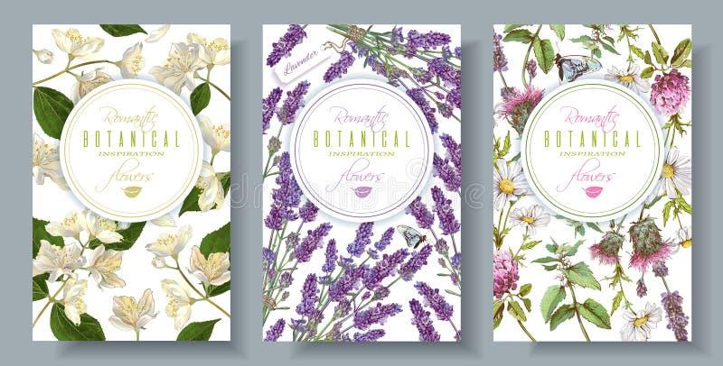 Drapeaux verticaux floraux illustration stock