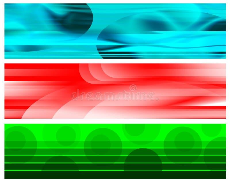 Bannières vertes blanches rouges cyan image libre de droits