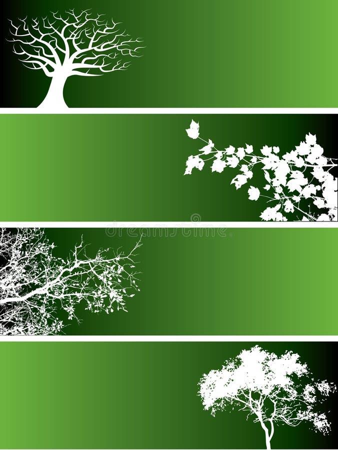 Drapeaux verts de nature illustration de vecteur