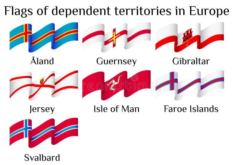 Drapeaux volants des territoires non autonomes de l'Europe dans les vagues illustration libre de droits