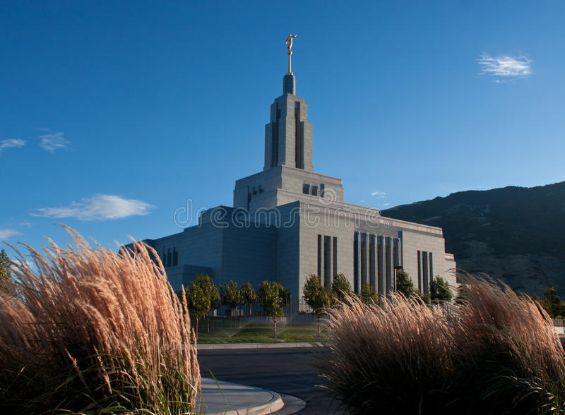 Draper, Utah Mormon Temple. Image of the Draper Utah Mormon temple taken at Sunrise royalty free stock image