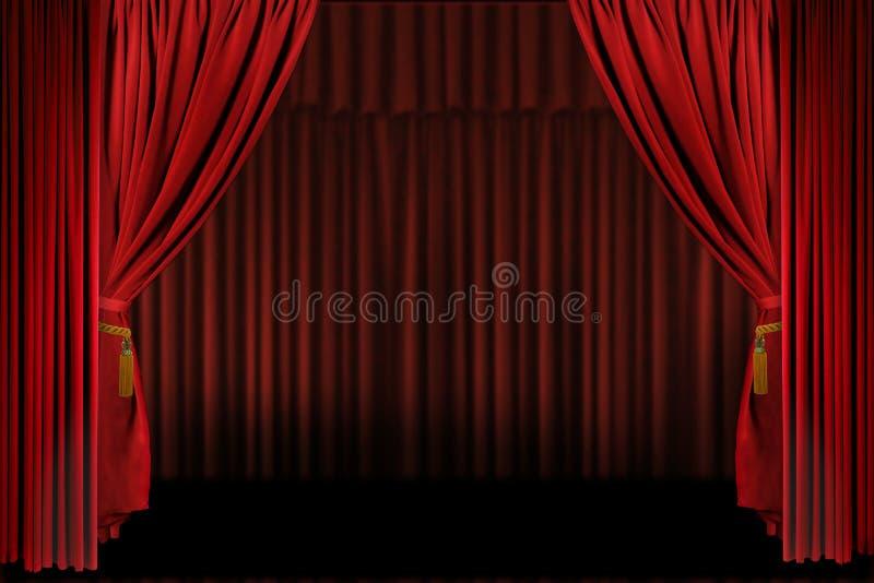 draperar den horisontalöppna presentationsetappen royaltyfria bilder