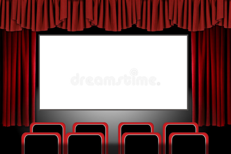 draperar theatren för etappen för inställningen för illusfilmen den röda vektor illustrationer