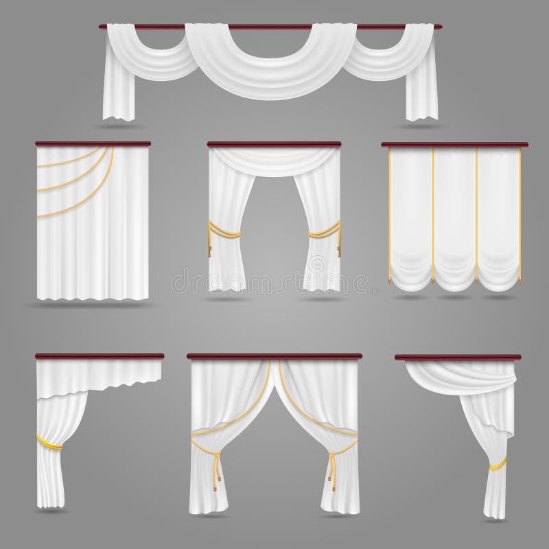 Draperie blanche de rideaux pour épouser l'ensemble de vecteur de pièce et de fenêtres illustration stock