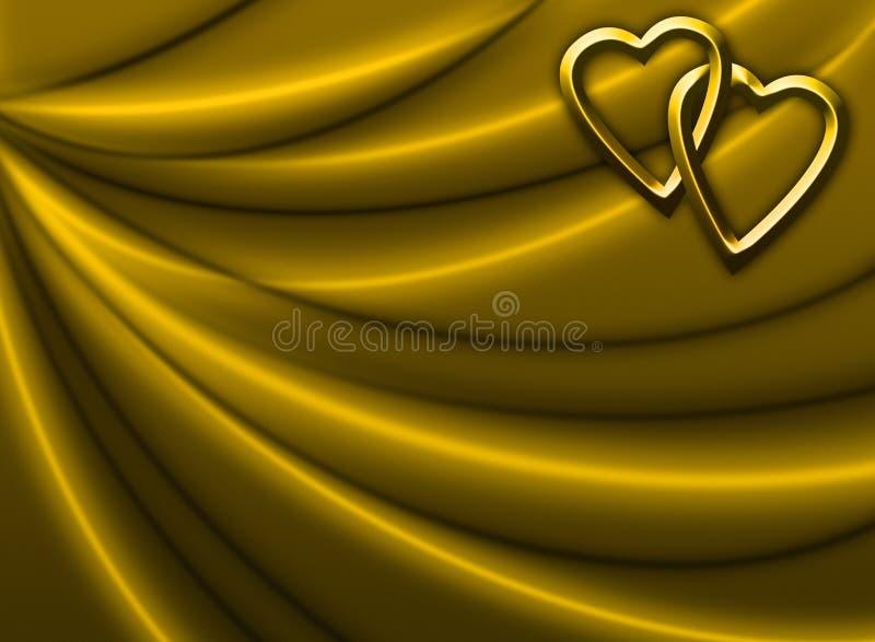 Drapery dourado com corações ilustração stock