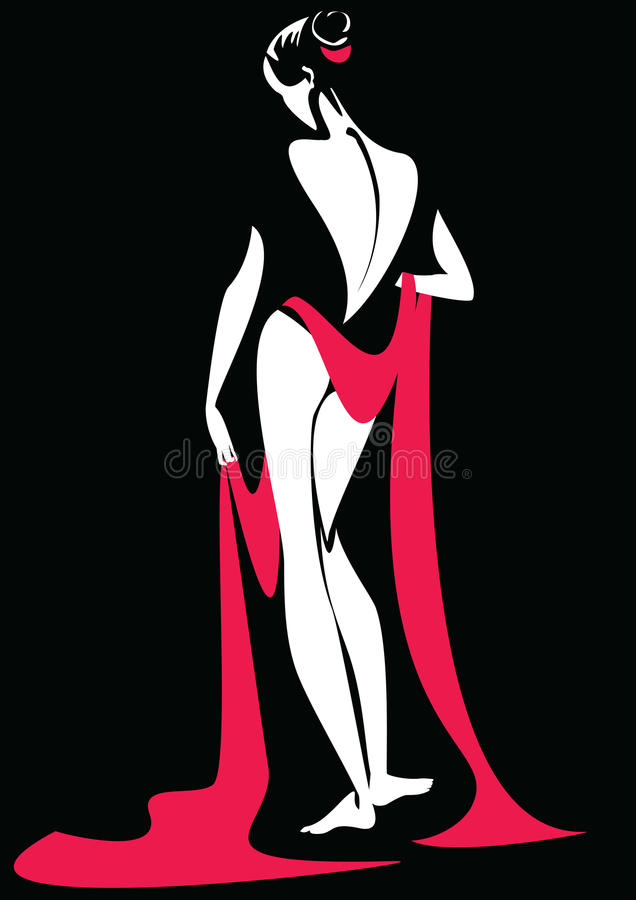 Download Drapery red stock illustration. Image of bend, black, gracefully - 9919907