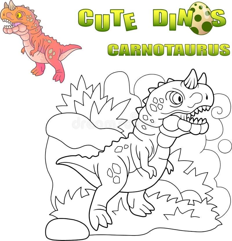 Drapieżczy prehistoryczny dinosaura carnotaurus, śmieszna ilustracja ilustracja wektor