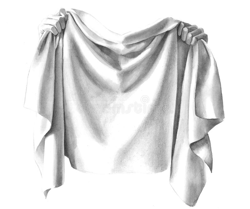 Download Draping Cloth Material Folds Held In Hands Stock Illustration - Image: 31770780