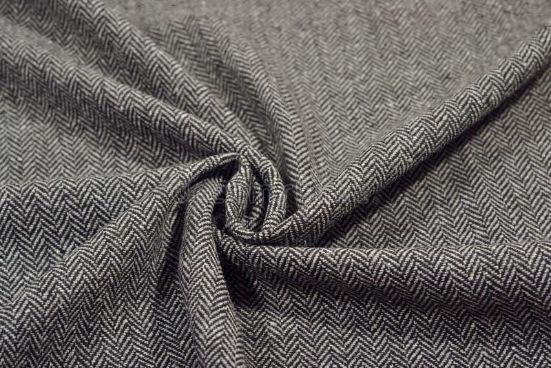 Drapuj?ca herringbone tweed we?ny tkaniny tekstura obrazy stock