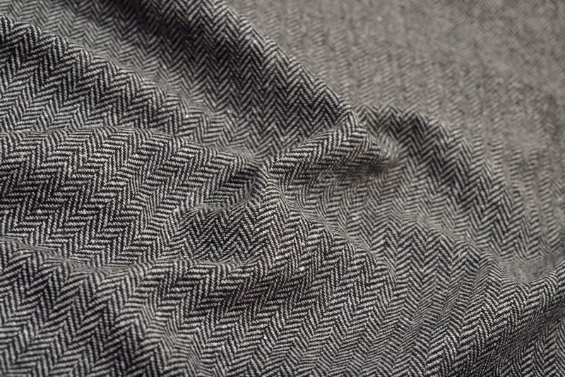 Drapuj?ca herringbone tweed we?ny tkaniny tekstura obraz stock