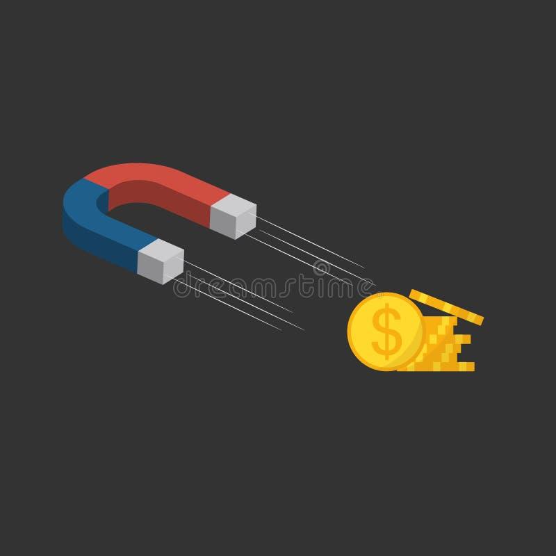 Drar den röda magneten för plan stil en vinst, pengar Magneten tilldrar pengar Begreppet av f?rs?ljningar, n?ringslivsutveckling stock illustrationer