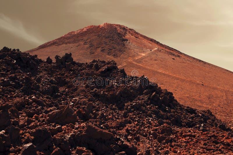Drastische Oberfläche des roten Planeten Mars stockfoto