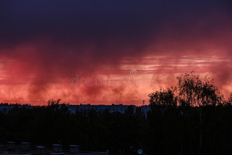 drastischer roter Wolkennebel über Bäumen auf Sonnenuntergang lizenzfreies stockfoto