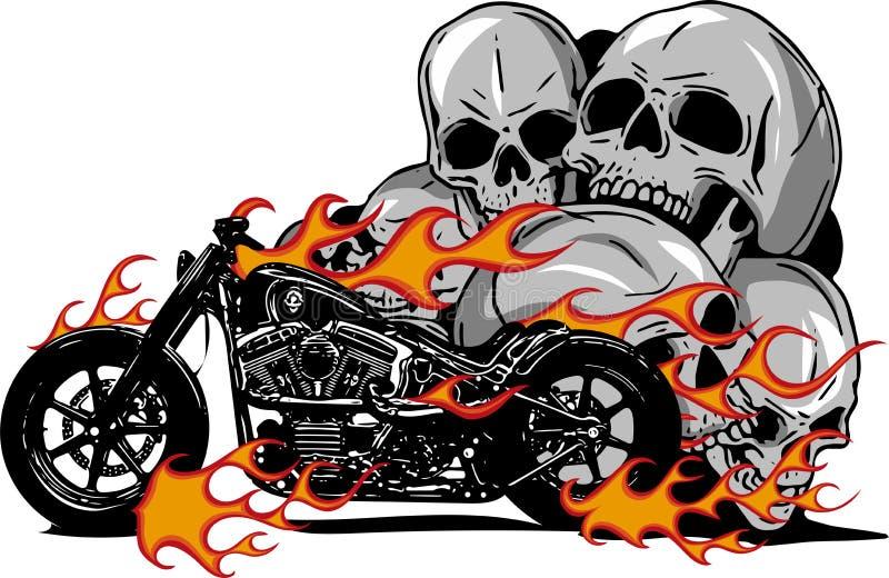 Drastisches brennendes Motorrad versenkt in den heftigen brennenden orange Flammen und in explodierenden Funken des Feuers lizenzfreie abbildung