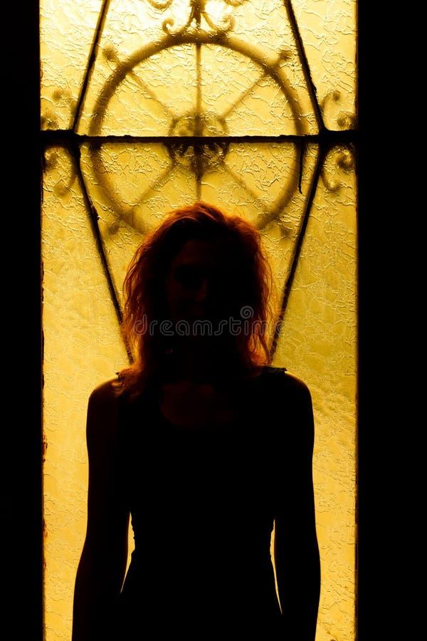 Drastisches Porträt einer hübschen Frau in der Dunkelheit Träumerische Frau lizenzfreies stockbild