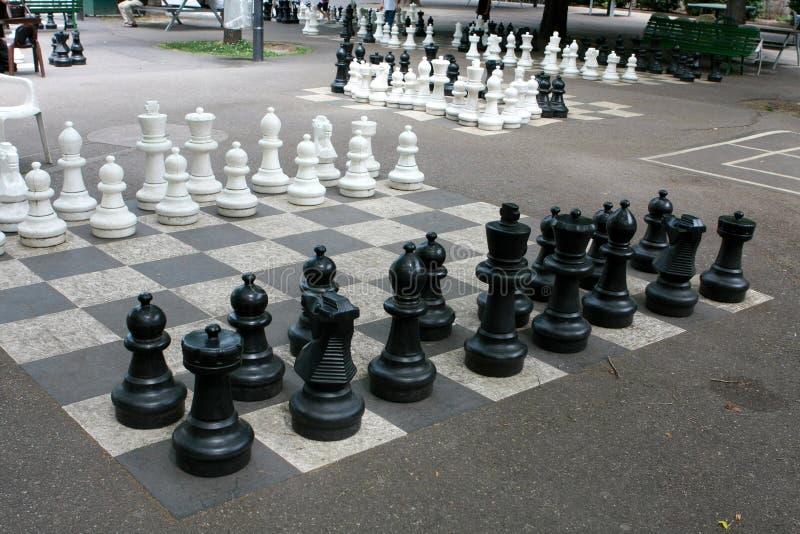 Draußen Schachspiel stockbilder